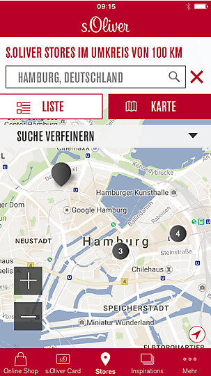 s.Oliver Geschäftefinder in der s.Oliver App auf einem IPhone geöffnet