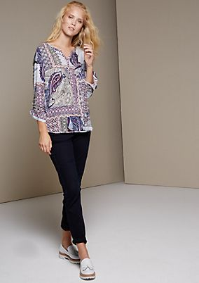 Casual long sleeve blouse with a decorative mixed pattern from s.Oliver