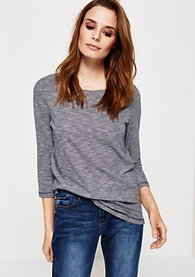 Casual cotton top with 3/4-length sleeves and micro stripes from s.Oliver