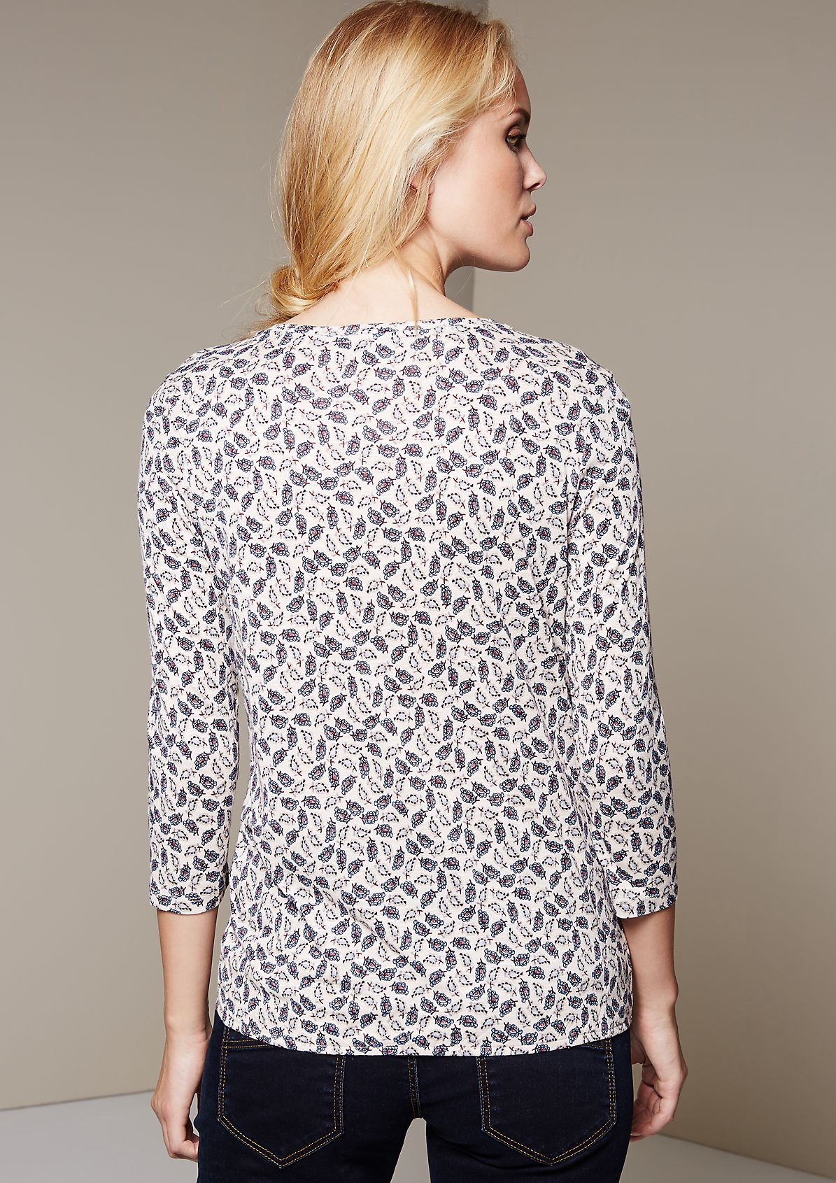 Casual top with 3/4-length sleeves and a decorative all-over print from s.Oliver