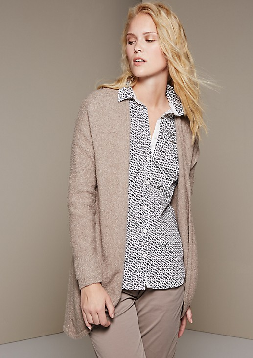Cosy long cardigan with attractive details from s.Oliver