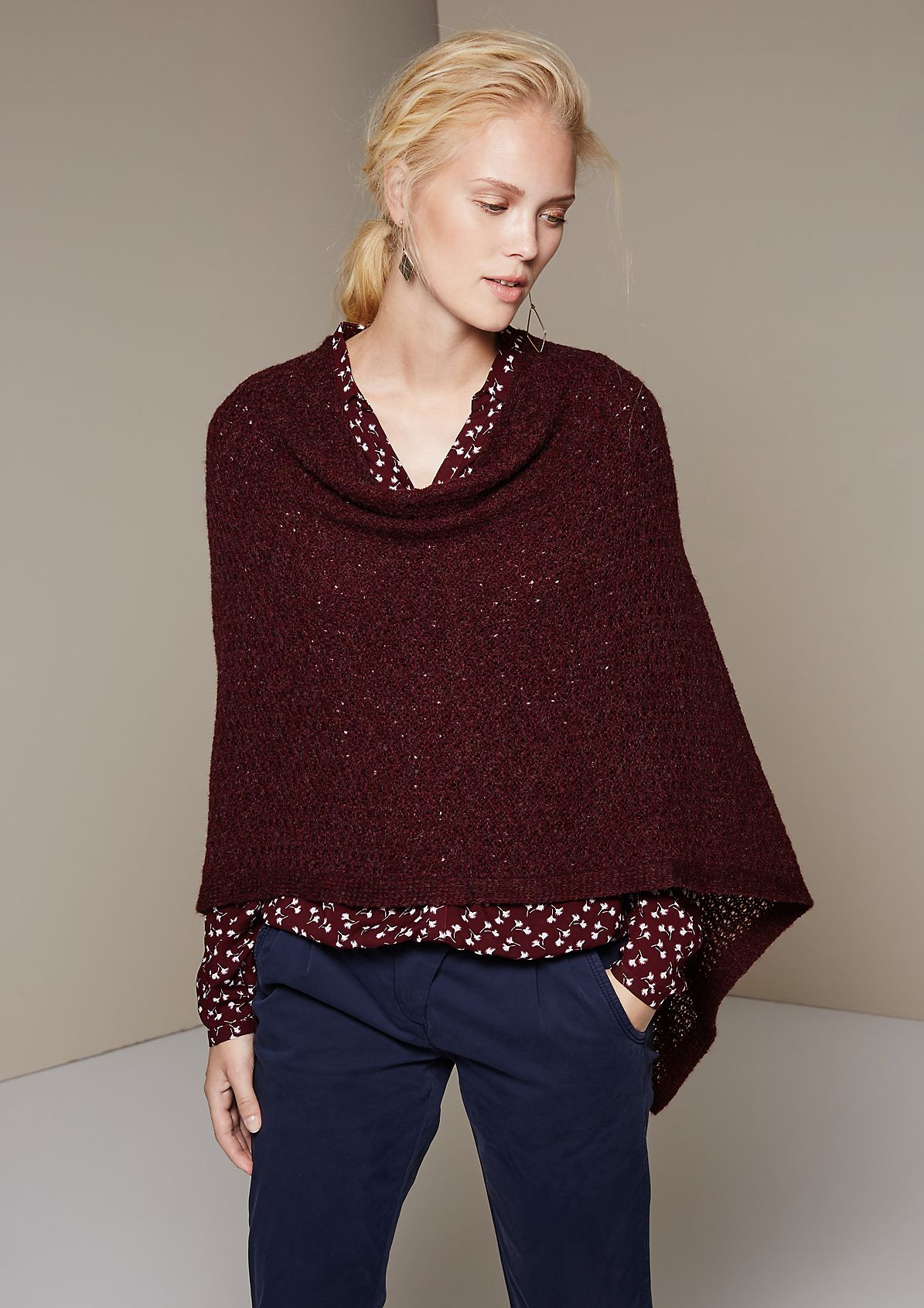 Cosy knit poncho with a cowl neckline from s.Oliver