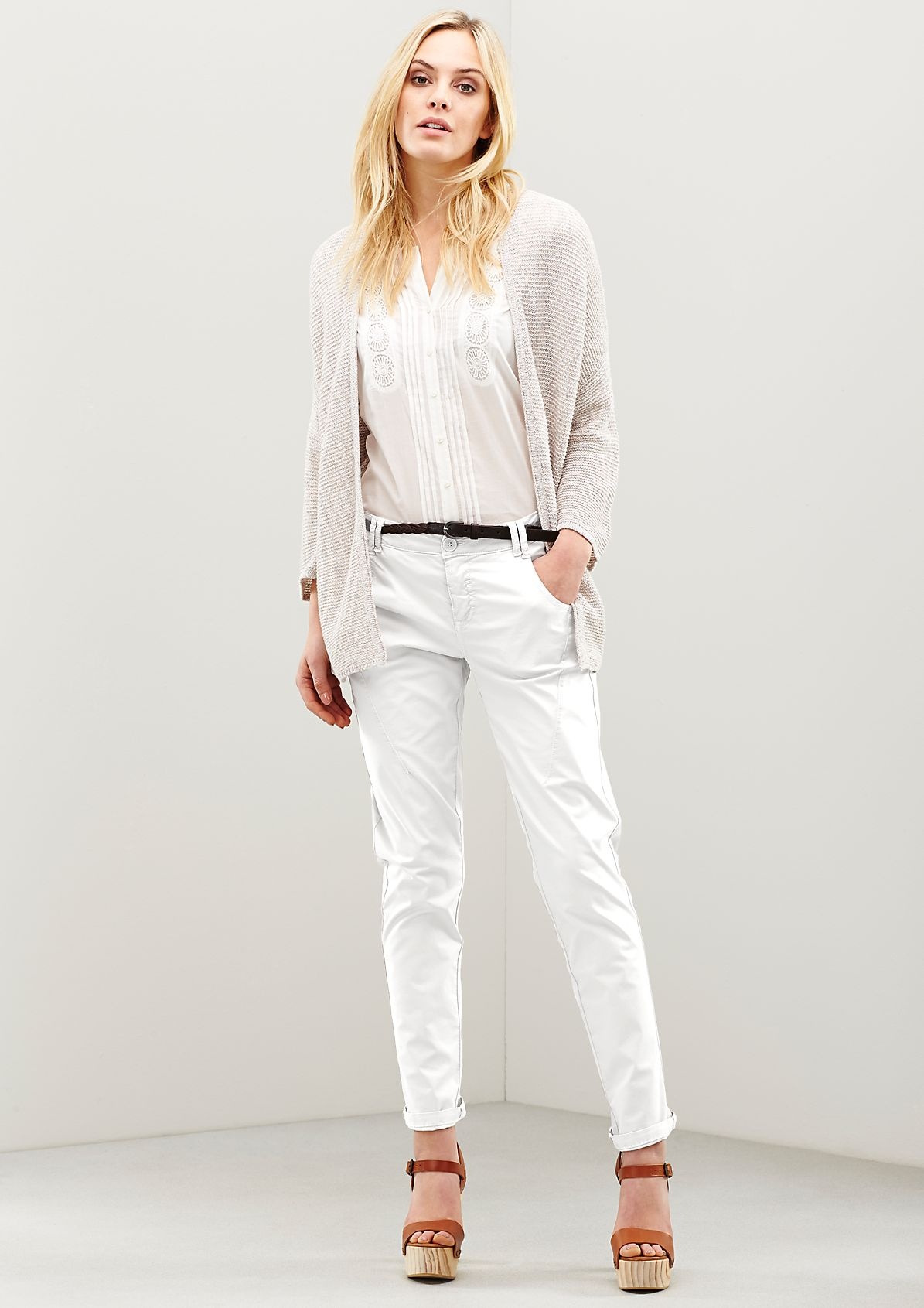 Classic chinos with a braided belt from s.Oliver