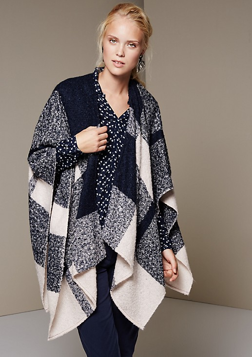Soft chunky knit poncho with a decorative pattern from s.Oliver