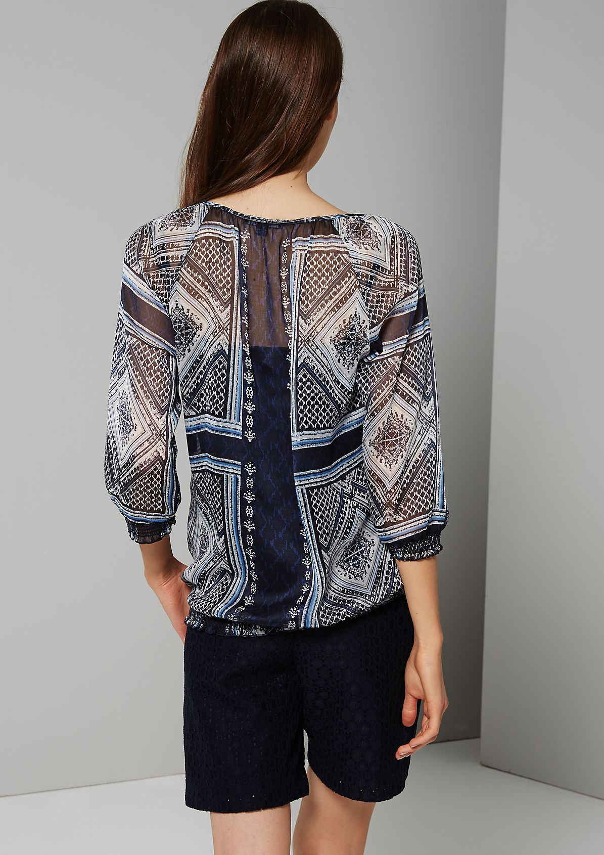 Semi-sheer chiffon blouse with a decorative ornamental pattern from s.Oliver