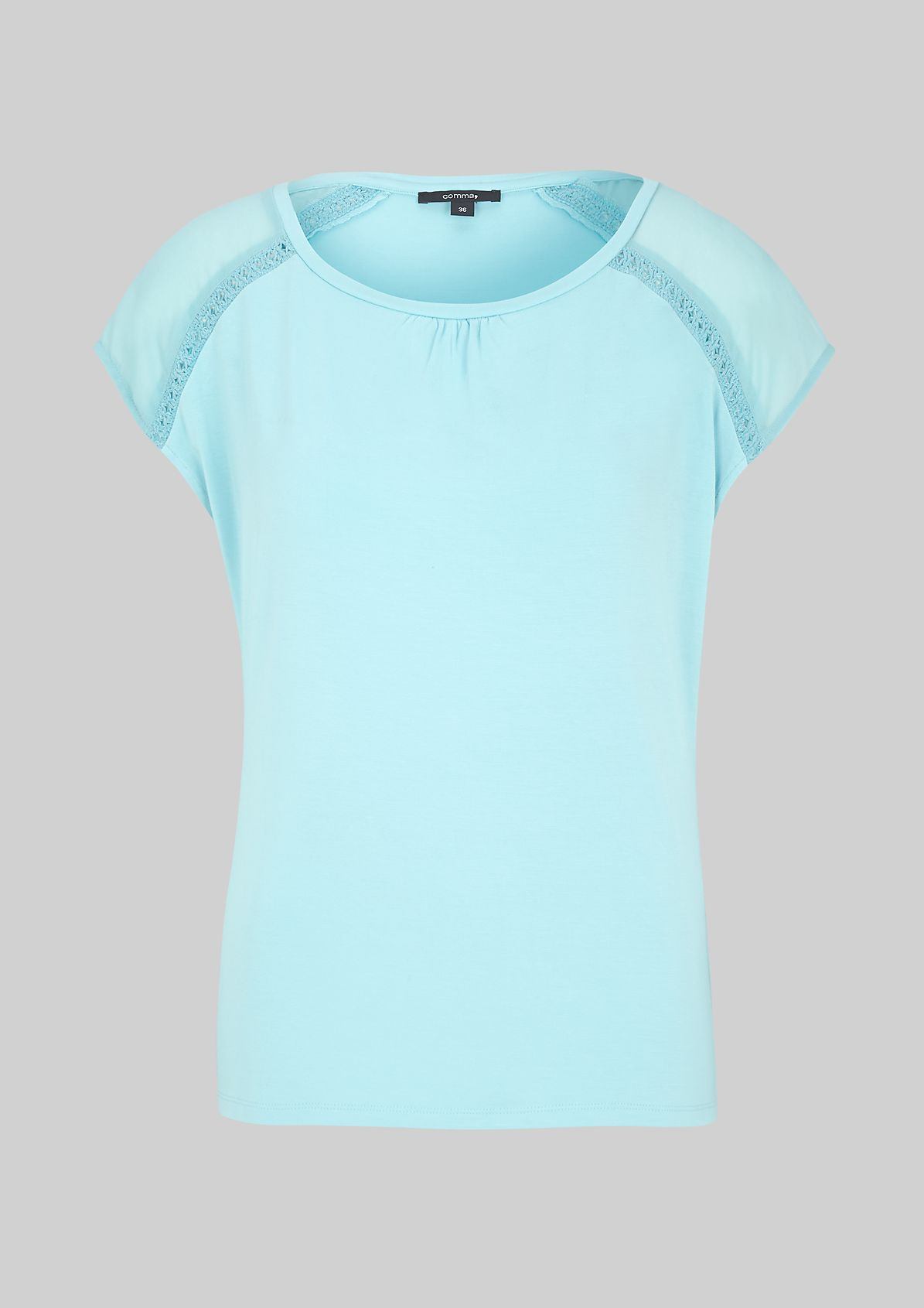 Summery short sleeve T-shirt with sophisticated details from s.Oliver