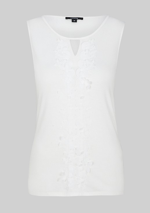Classic top with a beautiful floral trim from s.Oliver