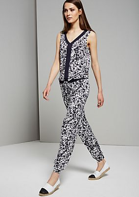 Summery jumpsuit with an abstract floral print from s.Oliver