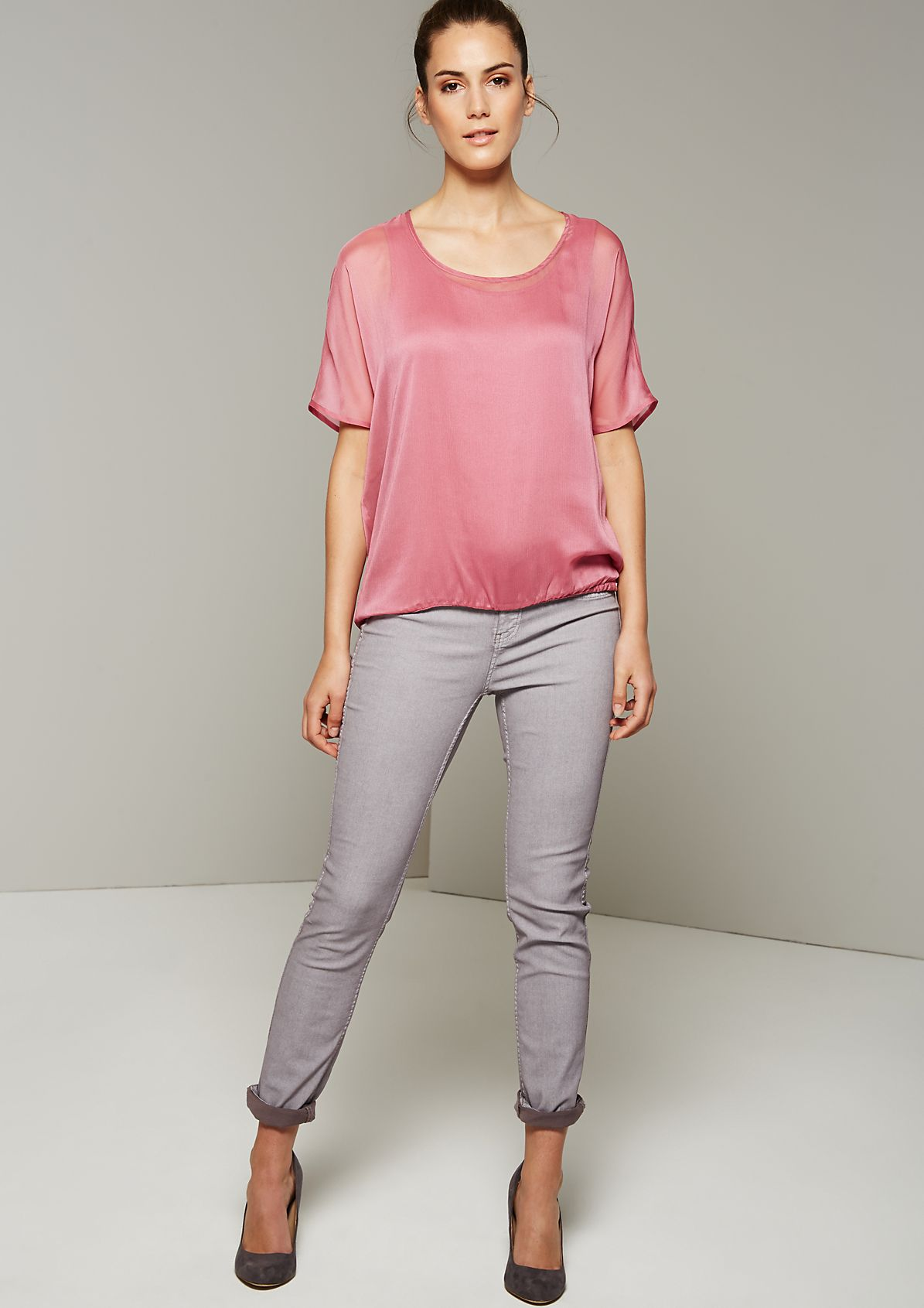 Semi-sheer short sleeve blouse with decorative design features from s.Oliver