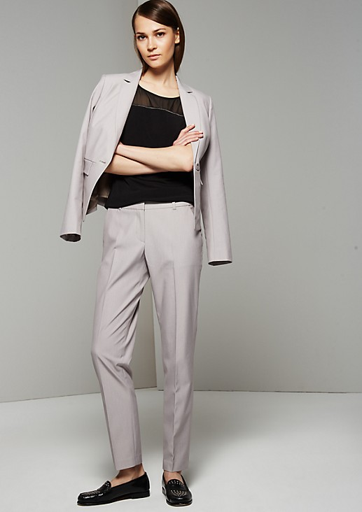 Casual twill trousers with elegant design features from s.Oliver