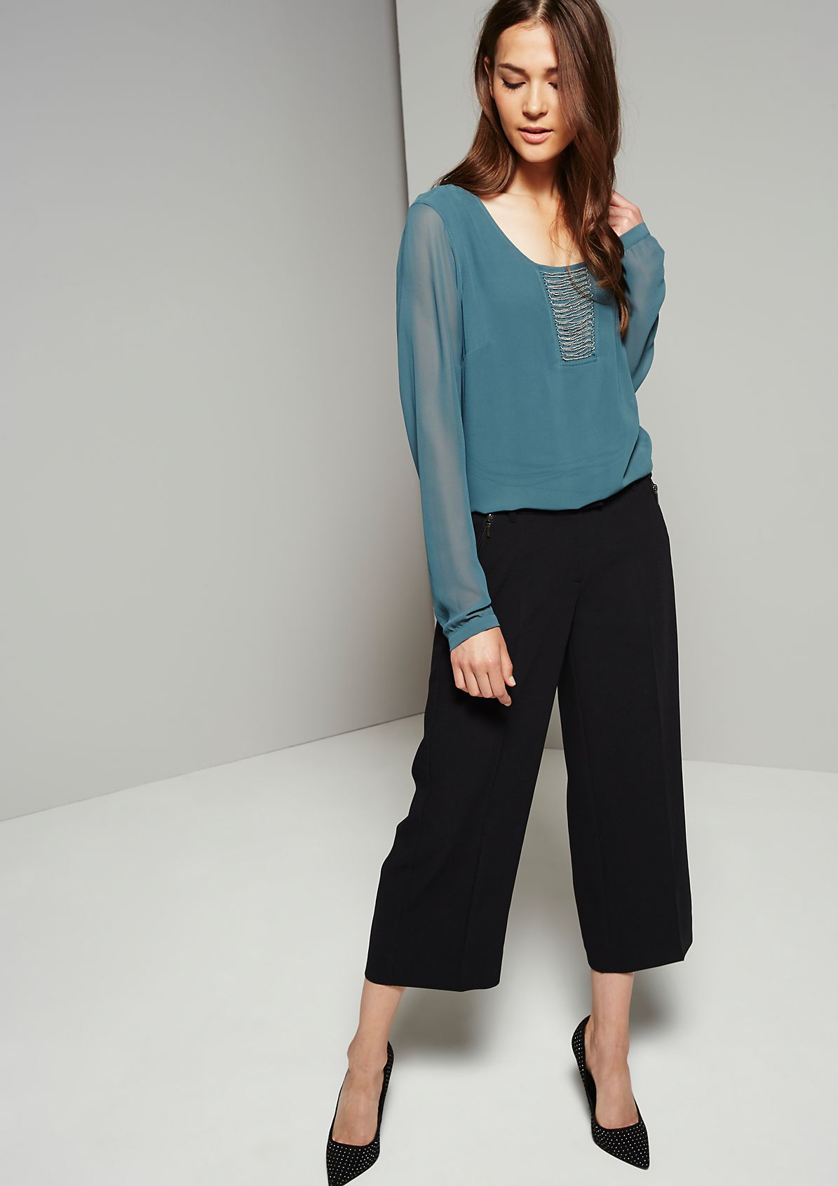 Delicate long sleeve blouse with a sparkling chain trim from s.Oliver