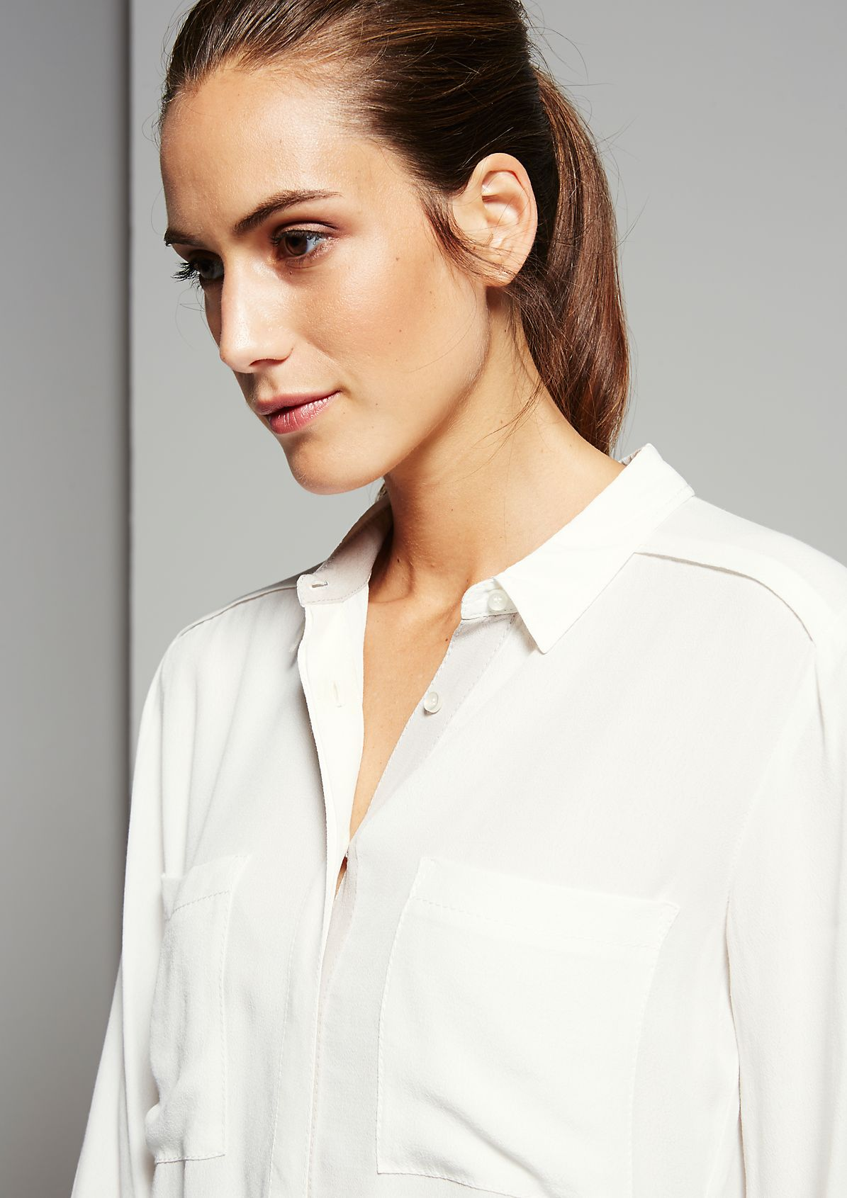 Lightweight crêpe blouse with multi-faceted details from s.Oliver