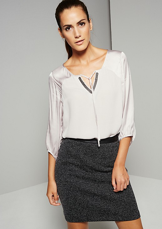 Elegant blouse in a mix of materials with 3/4-length sleeves from s.Oliver