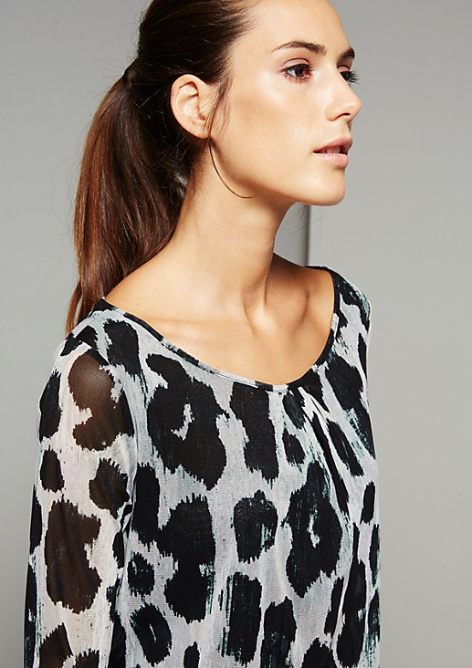 Delicate long sleeve mesh top with an extravagant all-over print from s.Oliver