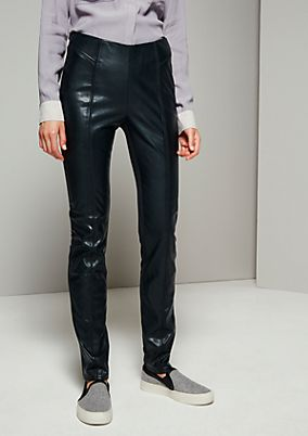 Extravagant trousers made from top-quality imitation leather from s.Oliver
