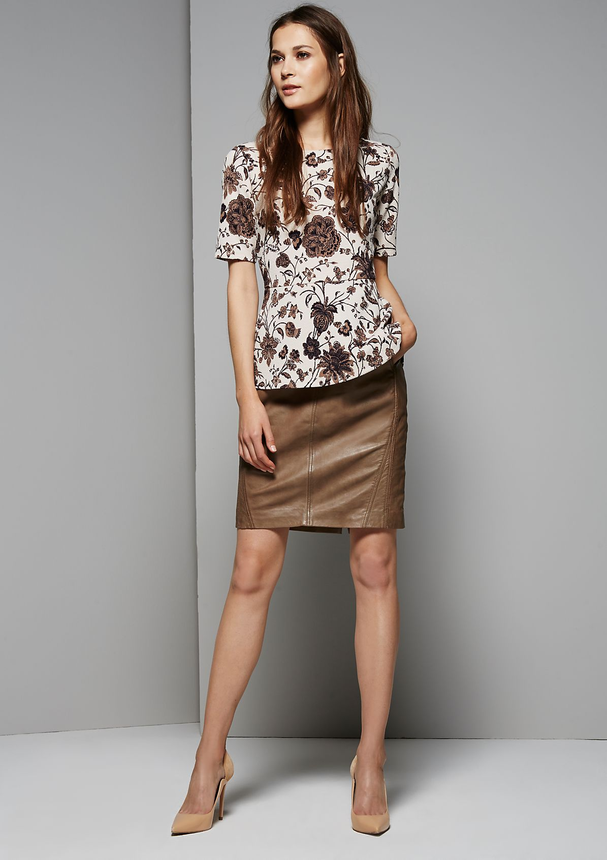 Extravagant short sleeve top with an elaborate, all-over pattern from s.Oliver