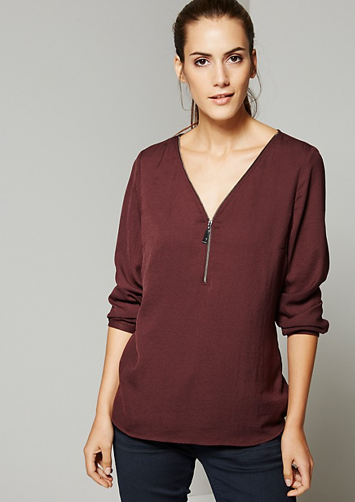 Sporty long sleeve crêpe top with elegant details from s.Oliver