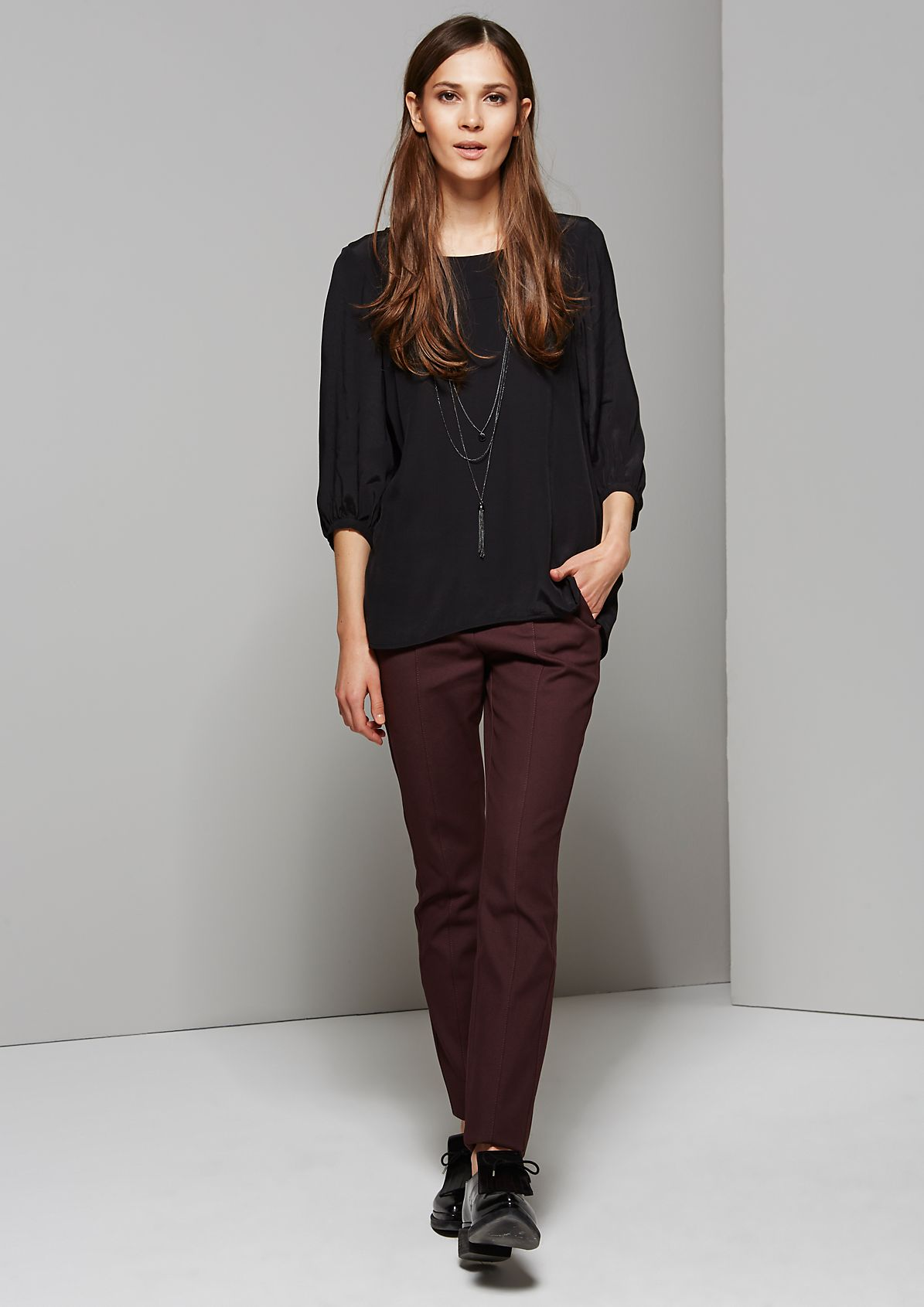 Pretty twill trousers with beautiful details from s.Oliver