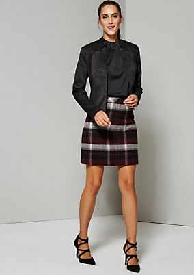 Cosy wool skirt with a classic check pattern from s.Oliver