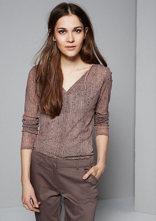 Long sleeve top in semi-sheer mesh with a sophisticated pattern from s.Oliver