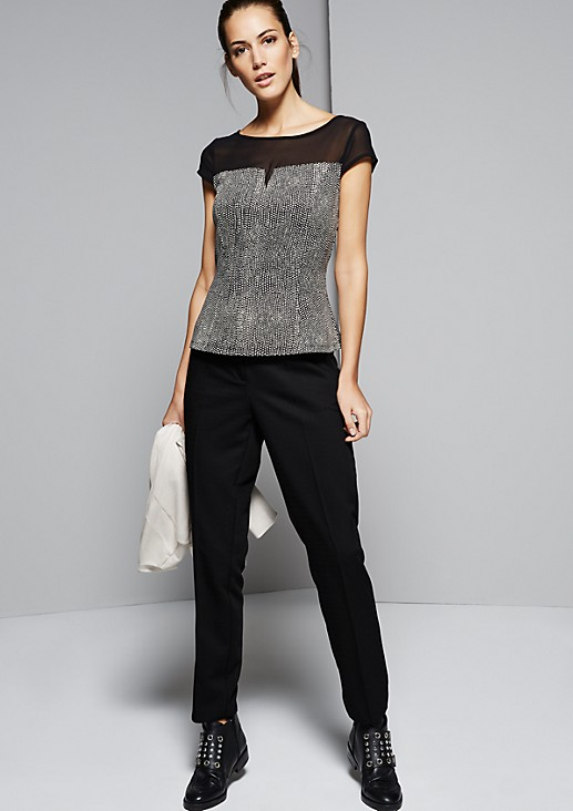 Elegant short sleeve top with a decorative all-over print from s.Oliver