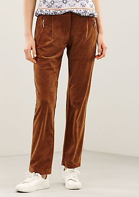 Elegant trousers made of soft faux suede from s.Oliver