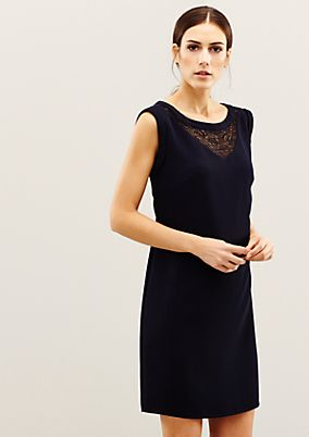 Minimalistic crêpe dress with a lace trim from s.Oliver