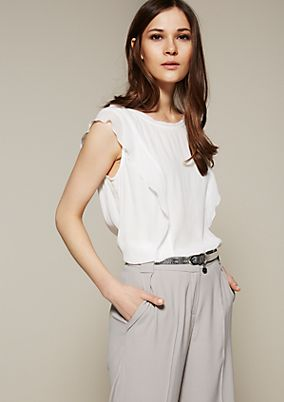 Elegant blouse top with delicate flounces from s.Oliver