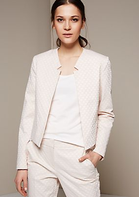 Elegant short blazer with a beautiful jacquard pattern from s.Oliver