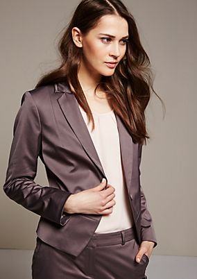 Feminine satin business blazer with a matte sheen from s.Oliver