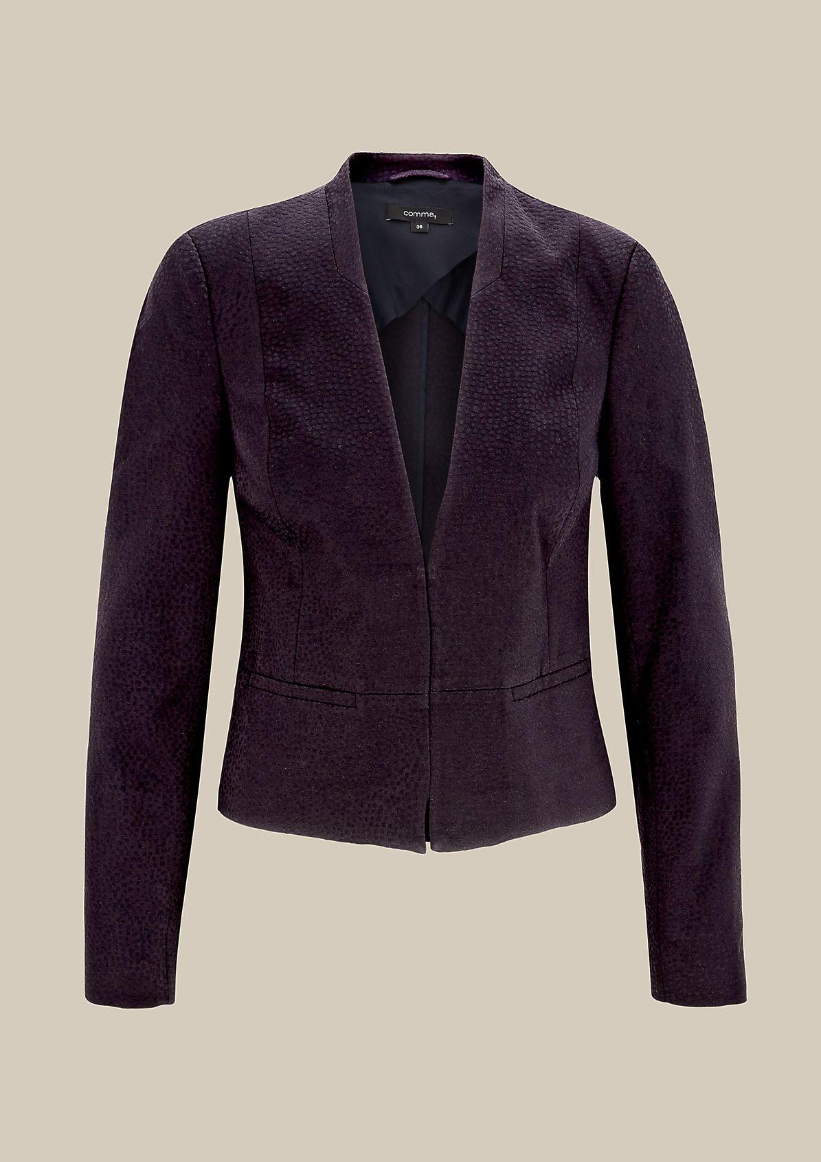 Elegant short blazer with a fine jacquard pattern from s.Oliver