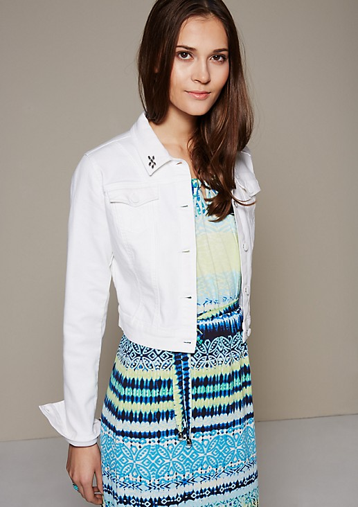 Cropped denim jacket with a coloured denim finish from s.Oliver
