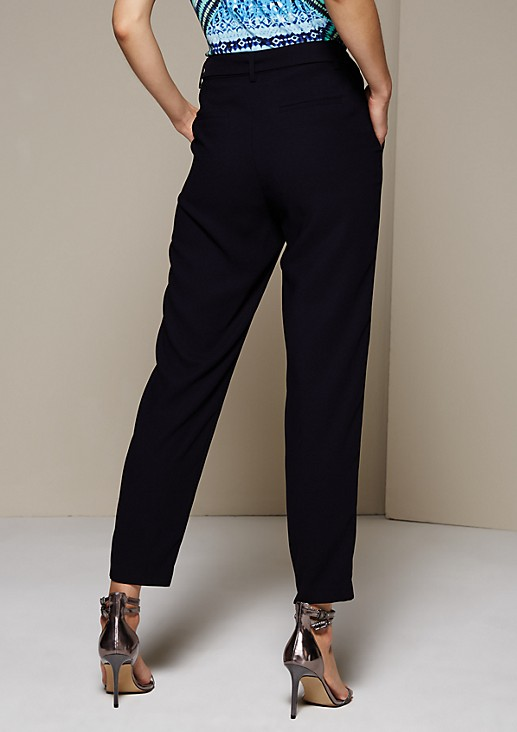 Lightweight business trousers with a wide fabric belt from s.Oliver