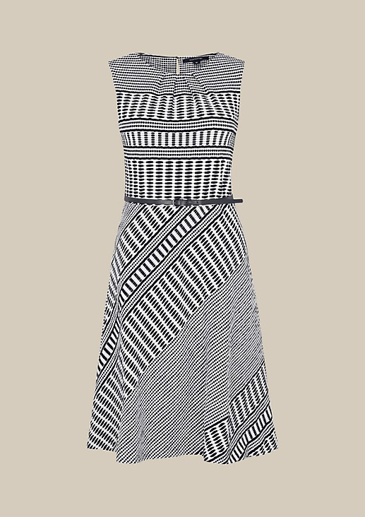 Elegant business dress with a geometric textured pattern in a two-tone design from s.Oliver