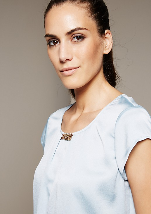 Short sleeve blouse with a matte sheen and a stunning gemstone trim from s.Oliver