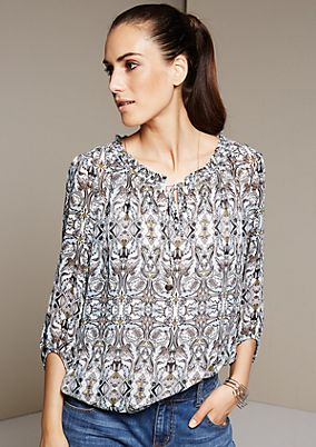 Casual crêpe blouse with a pretty all-over pattern and 1/2-length sleeves from s.Oliver