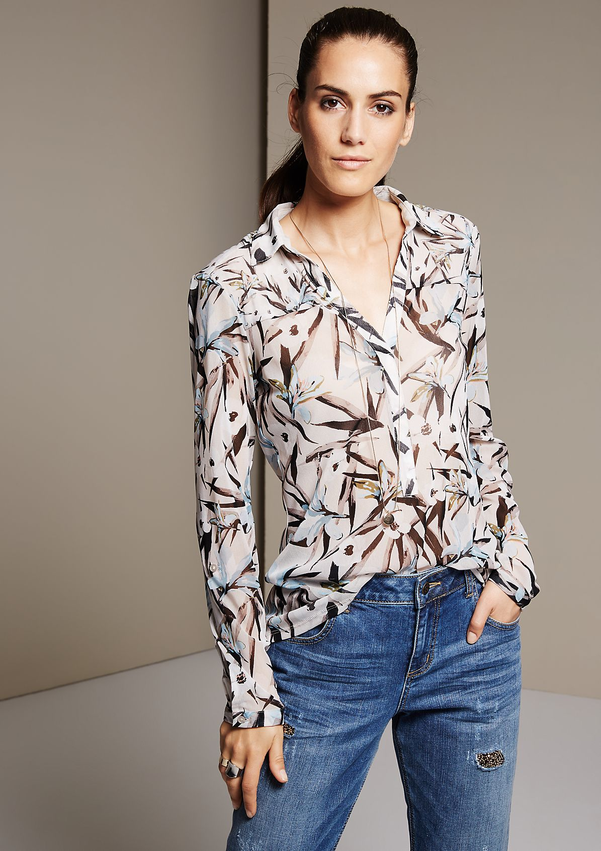 Delicate mesh blouse with an all-over print from s.Oliver