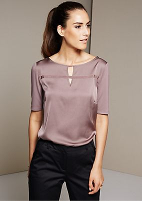 Extravagant short sleeve top in a sophisticated mix of fabrics from s.Oliver