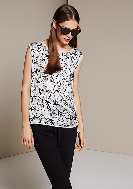 Extravagant jersey top with a colourful front print from s.Oliver