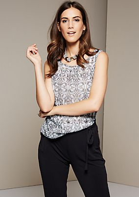 Delicate mesh top with a decorative all-over print from s.Oliver