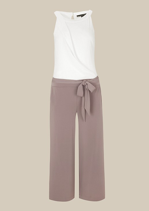 Extravagant crêpe jumpsuit in a two-tone design with a 3/4-length leg from s.Oliver