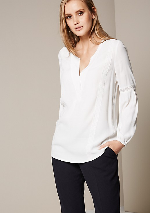 Casual long sleeve blouse with delicate lace trims from s.Oliver