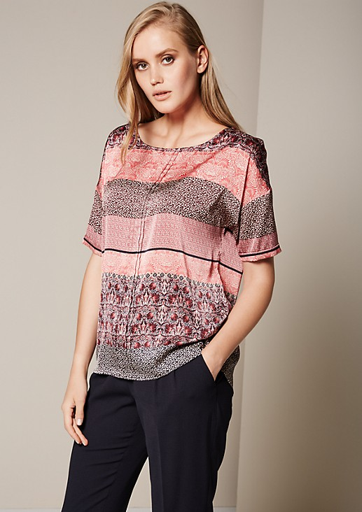 Satin blouse with a matte sheen and a colourful all-over pattern from s.Oliver