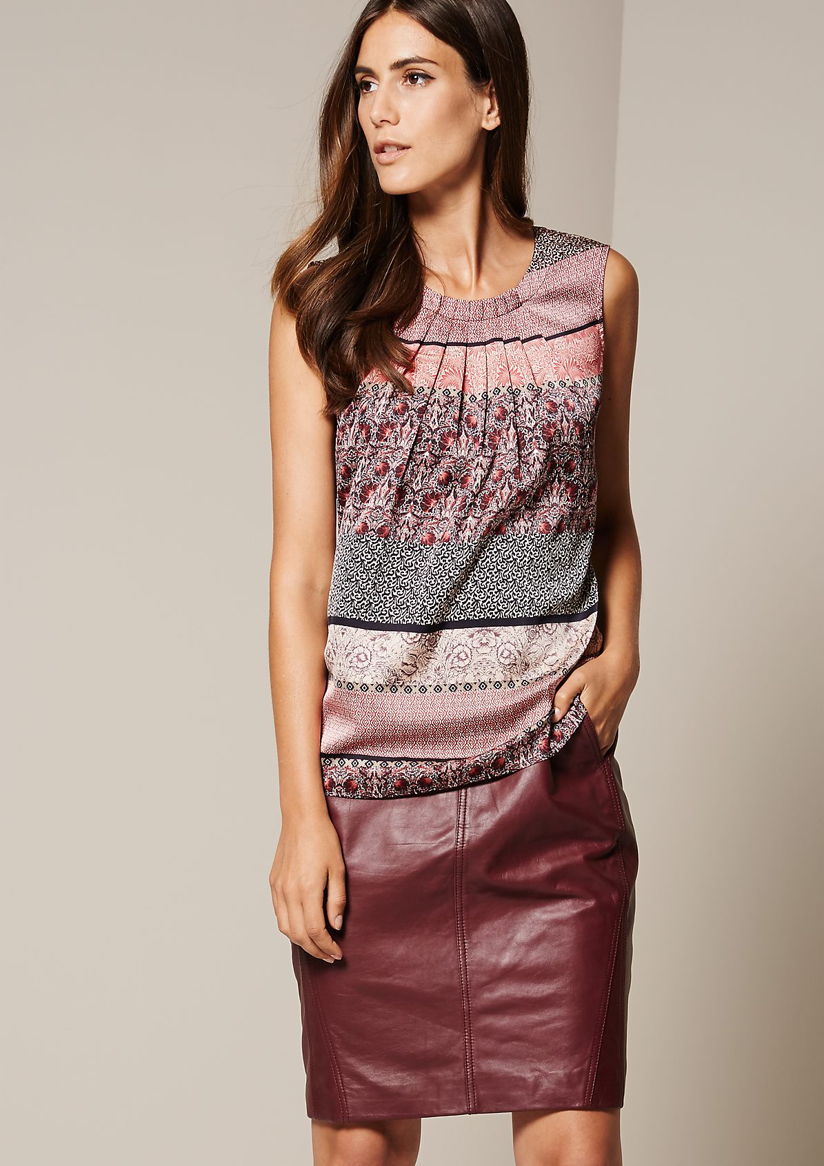 Satin top with a subtle sheen and decorative pleats from s.Oliver