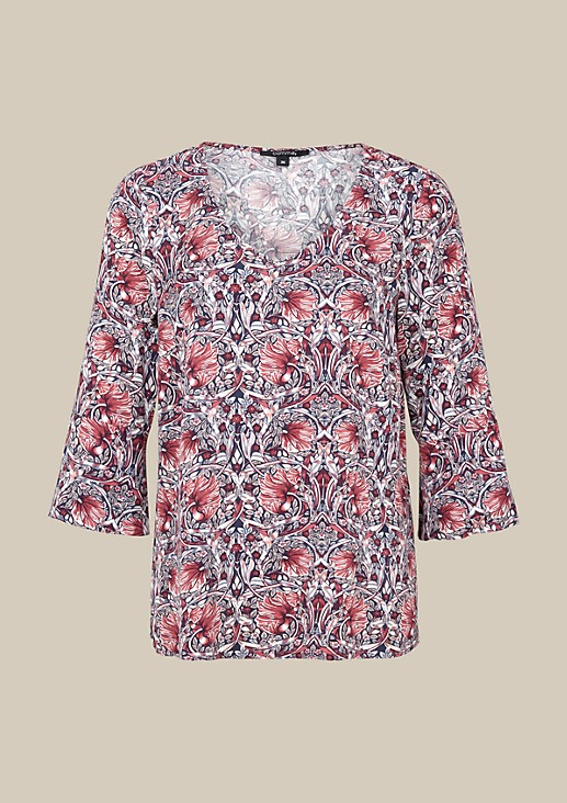 Elegant blouse with a decorative all-over pattern and 3/4-length sleeves from s.Oliver