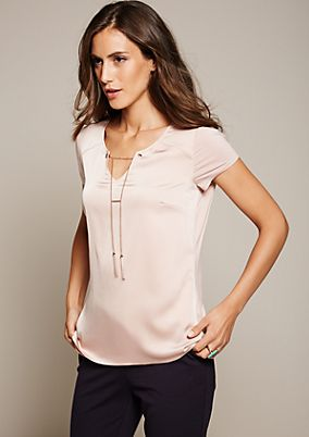 Elegant top in a mix of fabrics from s.Oliver