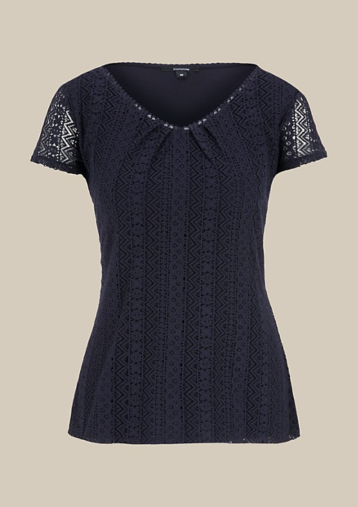 Extravagant short sleeve top with decorative lace from s.Oliver