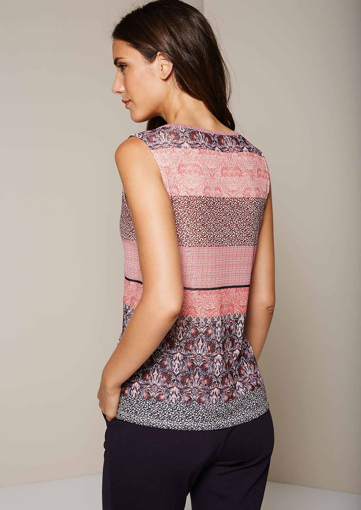 Casual mesh top with an elaborate all-over print from s.Oliver