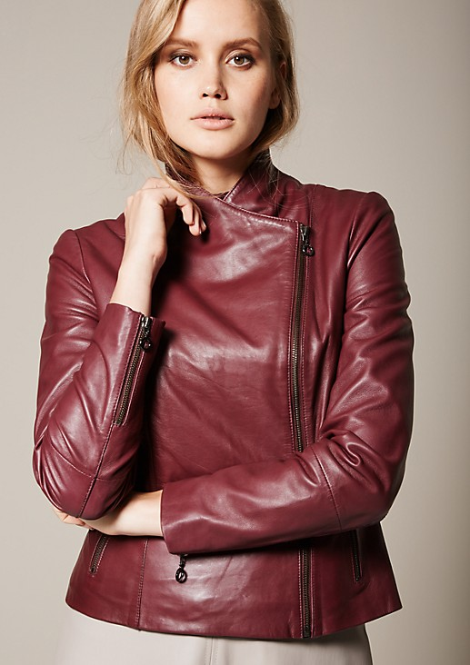 Elegant leather jacket in a trendy biker look from s.Oliver
