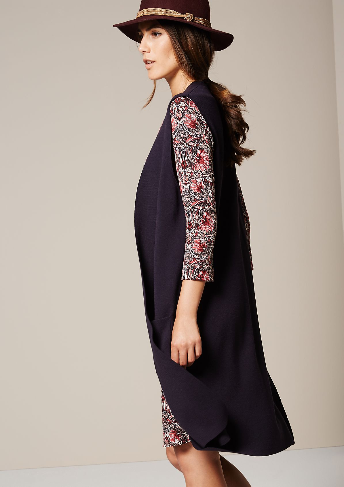 Extravagant long waistcoat with patch pockets from s.Oliver